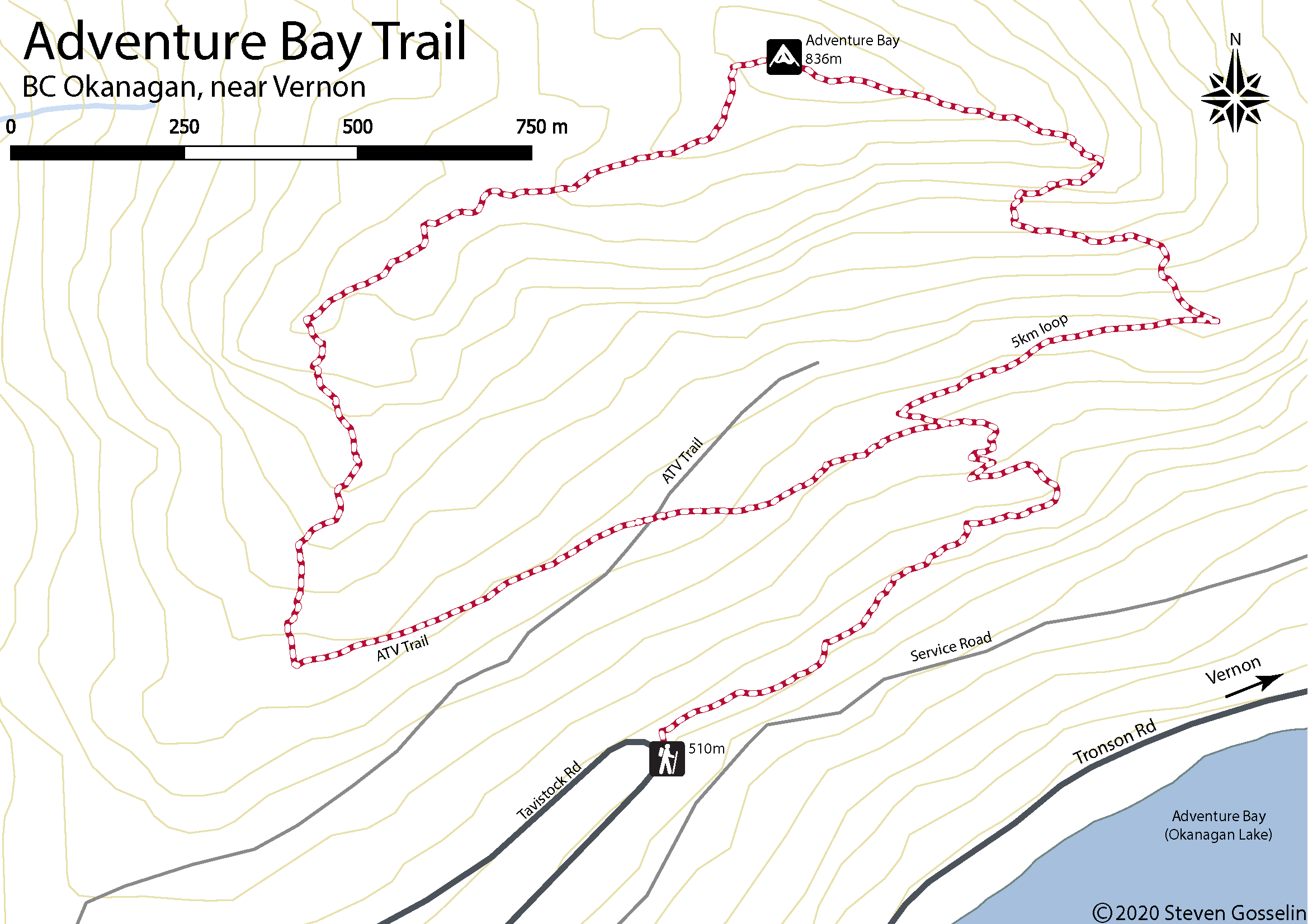 Adventure Bay Trail Map