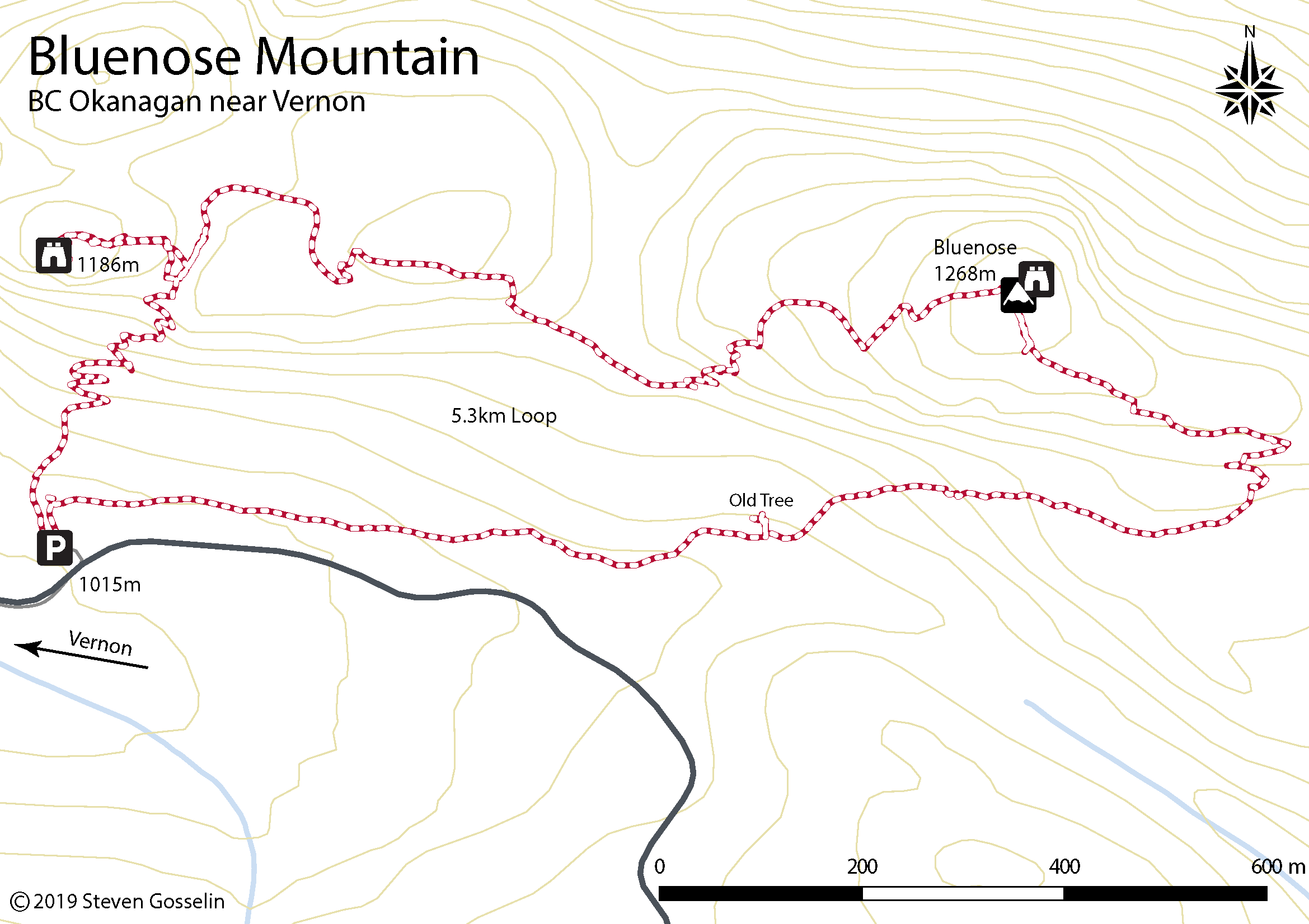 Map of McDougal Rim trail and Hayman Lake/Summit