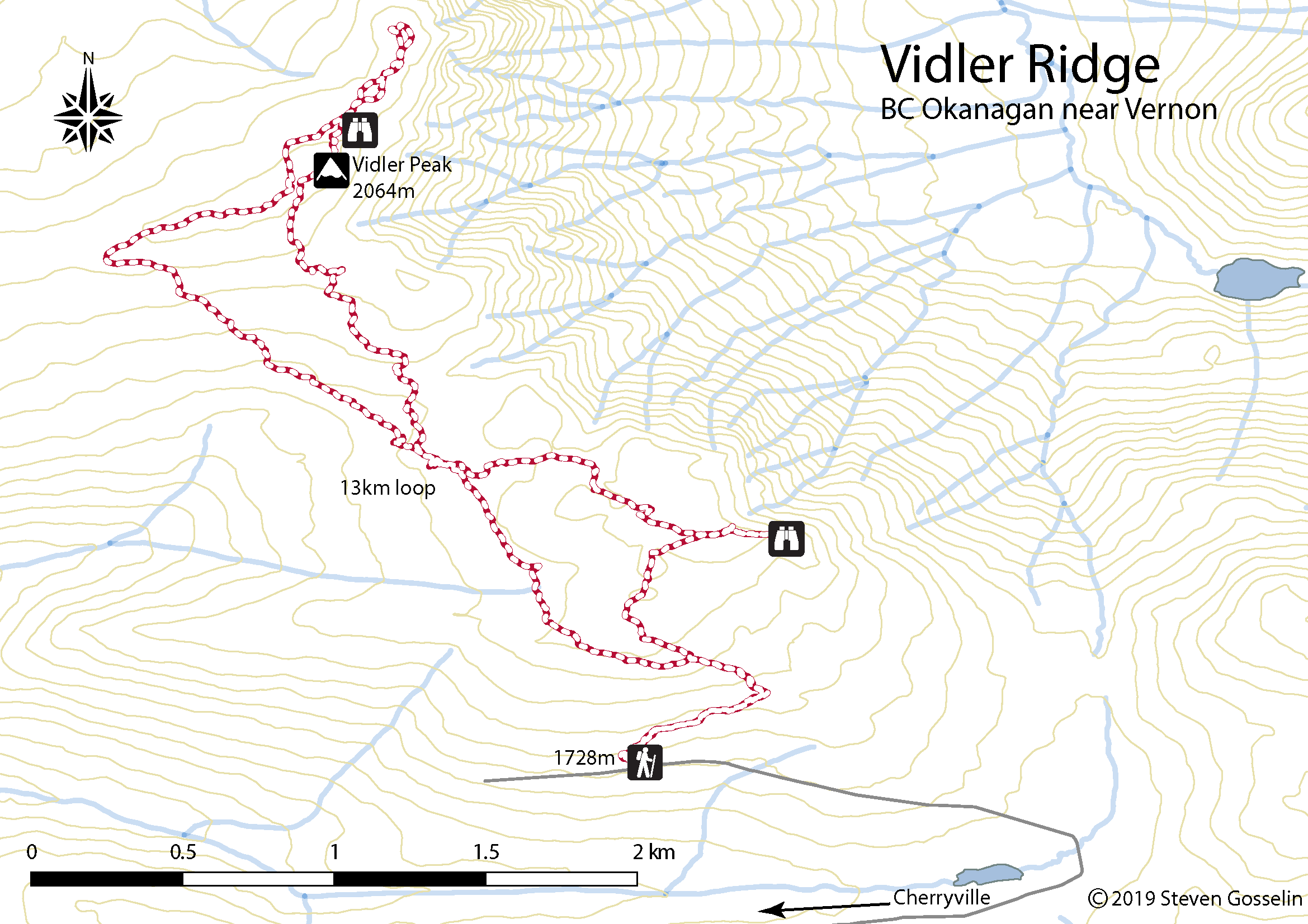 Vidler Ridge Hiking Route